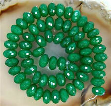 "5x8mm Faceted Emerald Abacus Gemstone Loose Beads 15""AAA"