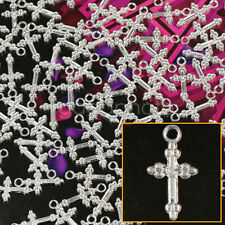 Wholesale 100Pcs Tibetan Silver Plated Alloy Flower Cross Charms Pendant 10X20mm