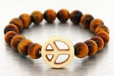 ALL NATURAL TIGERS EYE STONE 10MM BEADED PEACE SIGN BRACELET BROWN MENS WOMENS