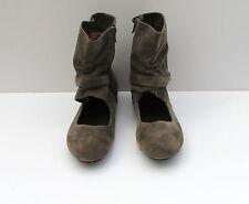 Flyfor Señoras Zapatos Botas Talla 5 Khaki recorte de Imitación de Gamuza Hebilla & Cremallera Lateral! nuevo!