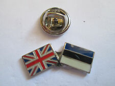 Estonia & Uk Friendship Enamel Metal Lapel Pin  -24 x 8mm   -  L077