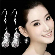Women Silver Plated Crystal Ear Stud Earrings Hook Dangle Jewelry New Fashion