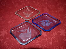 Lot 3 cendriers Art Déco en verre moulé 2 Assurances & SAPCE / Vintage Ashtrays
