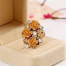 Foreign Trade Resin Roses Flower Adjustable Ring Rhinestone Ring Cute Fashion
