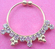 ETHNIC WHITE DIAMANTE GOLD TONE INDIAN BOLLYWOOD BRIDAL NOSE RING NATH JEWELRY