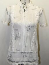 Vintage Spanner Women Blouse Lace Boho Embroidered White XS Short Sleeve