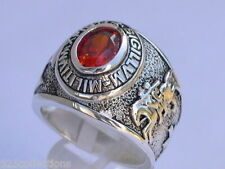 925 Sterling Silver January Garnet Birthstone Knights Templar Men Ring Size 11