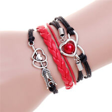 Couple Bracelets Silver Arrow Heart Imitation Pearl Leather Braided Bracelet