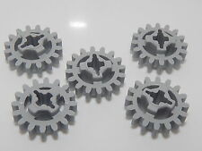 Lego Lot Of 5 Light Bluish Gray Technic, Gear 16 Tooth (New Style Reinforced)