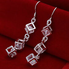 925 Silver Plated & Crystal Long Cube Drop Earrings   Stunning Ladies Girls Gift