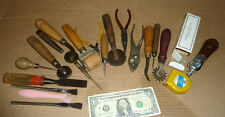 Vintage 20 Leather Work Tools.Hobby Kit,Pliers,Rollers,Cutters,Awl,Chisel,Knife