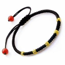 Pure 999 24k Solid Yellow Gold Lucky Beads Adjustable  Black Knitted Bracelet