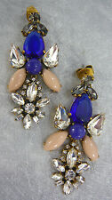 "NEW J. CREW BLUE GLASS TEARDROP STONE DANGLE EARRINGS 2-3/8""L x 1-1/16""W"