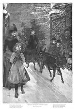 LUCIEN DAVIS Bringing Home The Christmas Tree- Antique Print 1887