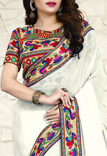 Exclusive Bordered Partywear Saree Fabric Georgette Sari Printed Blouse Saree