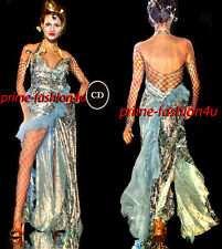 Galliano Christian Dior Gold Floral Embroidery Blue Silk Dress Fishnet bodysuit