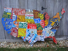 LARGE CUTOUT LICENSE PLATE MAP ART-  ALL 50 STATES!!!