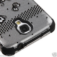 Samsung Galaxy S4 Hybrid T Armor i9500/I337/L720 Case Skin Cover Black Lace 2D