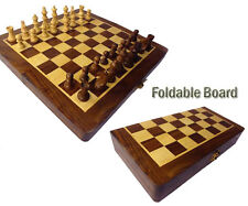 QualityShopping Wooden Foldable Chess Board Box  Natural Wood made carved Coins