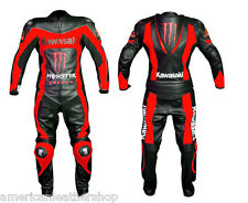 MEN Black RED Kawasaki Motorcycle RACING Leather Suit Jacket Hump Leather Pants