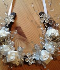 Lucky Wedding Horseshoe Stunning Beaded Lilies Crystals Brooches Silver White