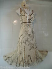VINTAGE anni 1920 DECO Principles Crema Downton Abbey Net Perline Paillettes Gatsby Vestito
