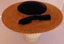 VINTAGE 1950's LADIES WOVEN STRAW HAT WITH Velvet