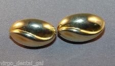 VTG Direction One Signed Oval Shape Wave Gold Tone Toned Clip Earrings