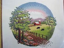 "Vintage Sunset Stitchery Counted Cross Stitch Kit Country Meadow 1979 12"" x 12"""