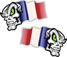 Handed Pair SKULL MASCOT France French Country Flag vinyl car biker sticker 50mm
