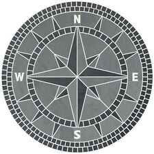"""60"""" Handcrafted Slate Tile Classic Compass Rose Mosaic Medallion Black & Gray"""