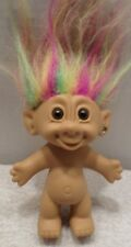 "4"" Collectible Bright Troll Doll Nude Pink Yellow Green Hair Brown Eyes Heart"