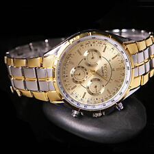 Men Date Stainless Steel Military Sport Date Gold Dial Casual Quartz Wrist Watch