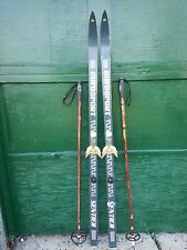 """VINTAGE HICKORY Wooden 62"""" Skis BLUE Finish Signed EUROSPORT + Bamboo Poles"""
