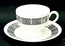 Wedgwood ASIA – BLACK R4288 Footed Cup Saucer Set. White Trim Black Perfect Cond