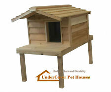 LARGE INSULATED CEDAR OUTDOOR CAT HOUSE WITH PLATFORM