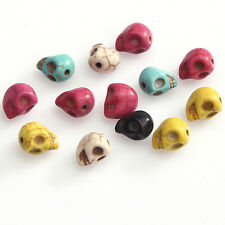 20pcs Loose Man-made Turquoise Skull Spacer Beads For Bracelet 10 Colors