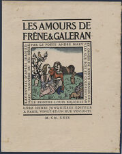 LES AMOURS - LOUIS BOUQUET - BEAUTIFUL ORIGINAL COLOUR WOODCUT PRINT c1929