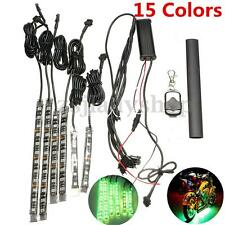15 Colour 6 pc RGB Motorcycle ATV Flexible Strip LED Light Lamp NEON Remote Kit