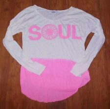 SOULCYCLE LONG SLEEVE TOP PINK WHITE WHEEL DANCE YOGA PILATES RUNNING SPIN EUC S