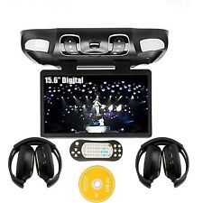 "Black 15.6"" Car Roof Mount Flip Down CD DVD Player FM Game IR+Free HEADPHONE"