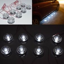 White 8 LED Light Round Floor Undercar Decorative Light Lamps For Car DC12V