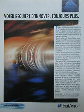 6/91 PUB FIAT AVIO GAS TURBINE ENGINE MOTEUR AVIATION ESPACE ORIGINAL FRENCH AD