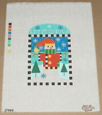 "Shelly Tribbey ""Let It Snow"" Snowman & Snowflakes Handpainted Needlepoint Canvas"