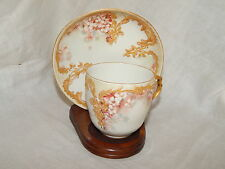 ANTIQUE KPM OLD BERLIN  PORCELAIN CUP & SAUCER - FLOWERS & GILDING