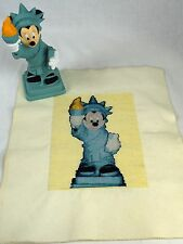 Disney Mickey Minnie Statue of Liberty Bank w/ plug and Finished Cross Stitch