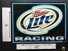 "MILLER LITE RACING NEON EFFECT SIGN SHOP TOOLBOX REFRIGERATOR MAGNET 12"" X 9"""