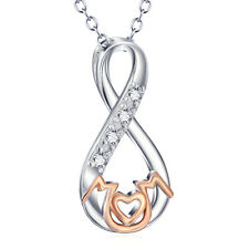 """Mothers Day Gifts 925 Sterling Silver Infinity Knot""""Mom"""" Necklace with CZ 2-TONE"""