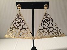 """2"""" gold triangle  light weight clip on earrings non pierced"""
