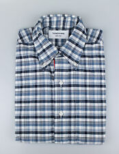 New. THOM BROWNE Blue/White Check Cotton Casual Button Down Shirt Size 3/Large